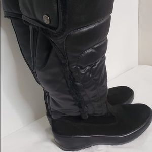 Black Leather Fur Waterproof Tall Snow Rhonda Boot